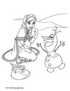 Anna and Olaf coloring page