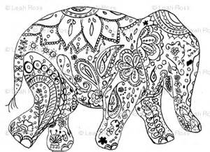 elephant full of mehndi colouring pages