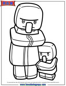 Minecraft Villager And Kid Coloring Page | HM Coloring Pages