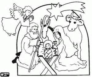 Colorear Nacimiento de Jesús, el niño en el pesebre con sus padres ...