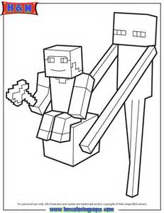 Enderman Holds Block With Steve On Top Coloring Page | HM Coloring ...
