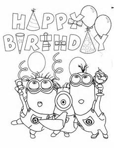 happy birthday minion Colouring Pages