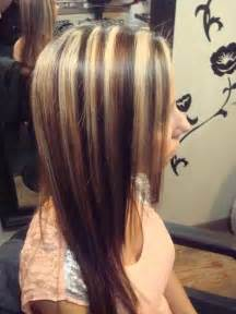 dark brown hairstyles with thick blonde highlights 3