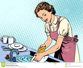 970617650-woman-washing-dishes-housewife-housework-comfort-retro-style ...