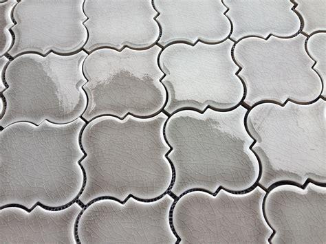10 50SF Dove Gray Arabesque Glazed Ceramic Mosaic Tile