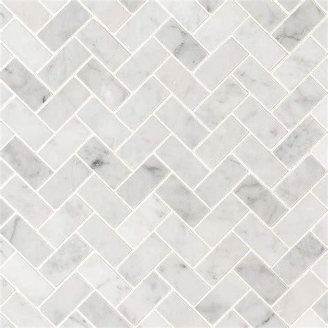 11 45SF Carrara Herringbone Honed Marble Mosaic Tile 1x2