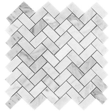 11 45SF Carrara Herringbone Marble Mosaic Tile
