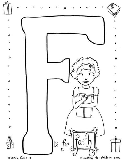 F is for Faith Coloring Page