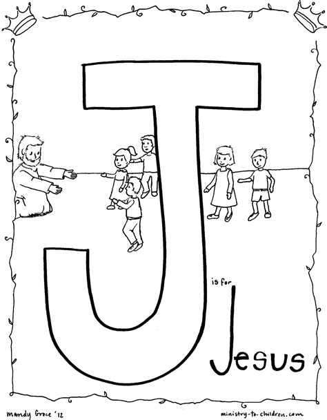J is for Jesus Coloring Page MINISTRY TO CHILDREN