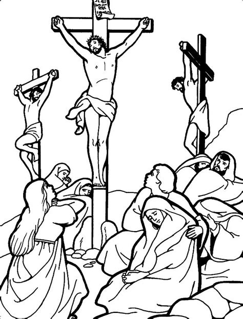 Jesus Dies on the Cross Coloring Page for Good Friday
