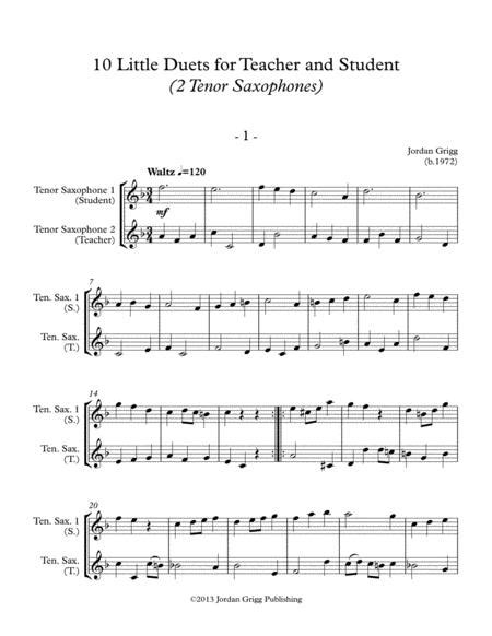 10 Little Duets For Teacher And Student 2 Baritone Saxophones  music sheet