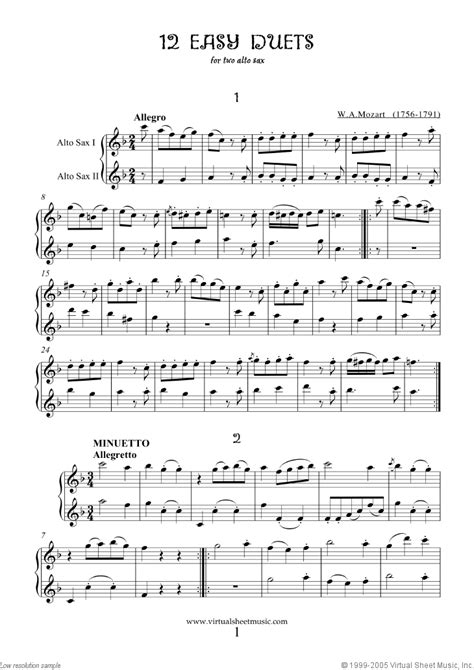 11 Easy Jazz Duets For Alto Saxophone  music sheet