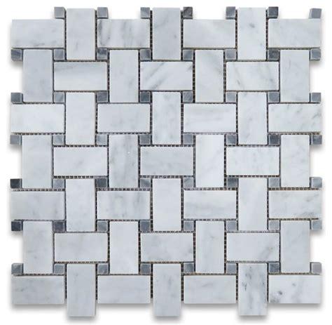 12 x12 Carrara White Marble Basketweave Mosaic Tile Gray