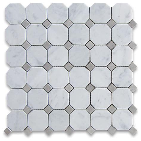 12 x12 Carrara White Marble Octagon Mosaic Tile Houzz