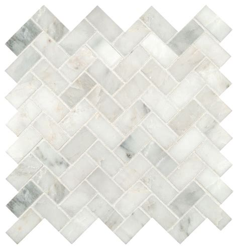 12 x12 Grayish White Herringbone Pattern Honed Marble