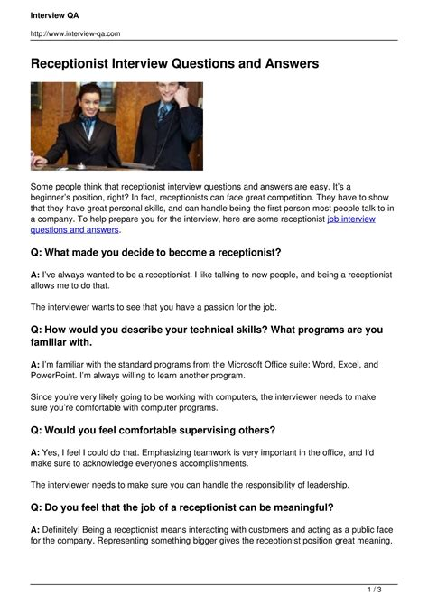 128 receptionist interview questions and answers pdf