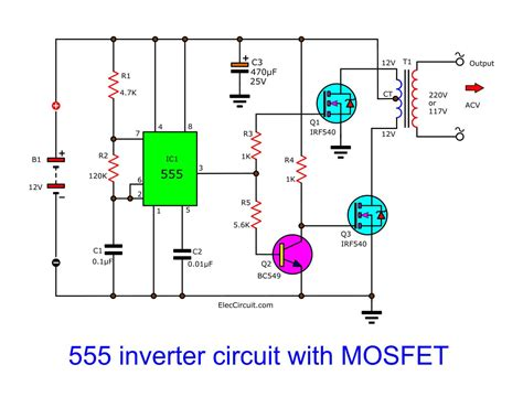 12v to 230v Inverter Circuit Schematic using Pulse Width