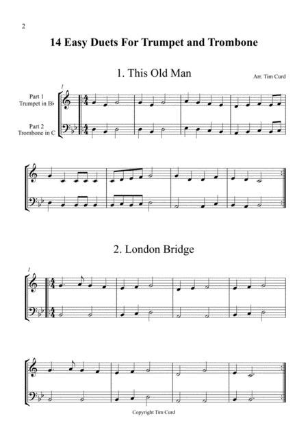 14 Easy Duets For Trumpet And Trombone  music sheet