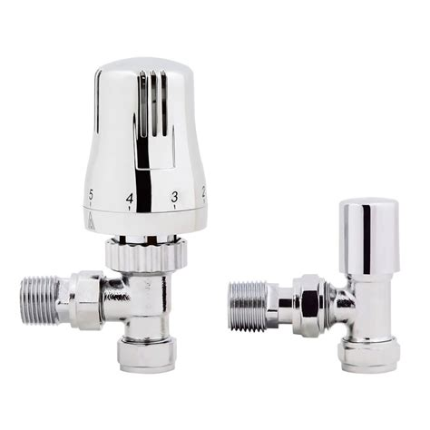15mm Standard Connection Thermostatic Angled Chrome