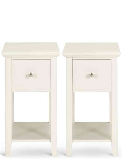 2 Hastings Ivory Compact Bedside Chests M S