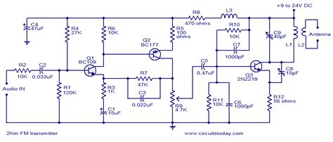 2 km FM transmitter Electronic Circuits and Diagram