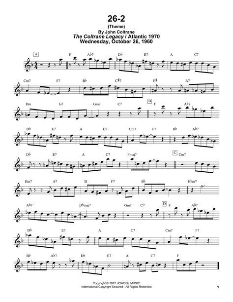 26 2 By John Coltrane For Saxophone Quintet  music sheet