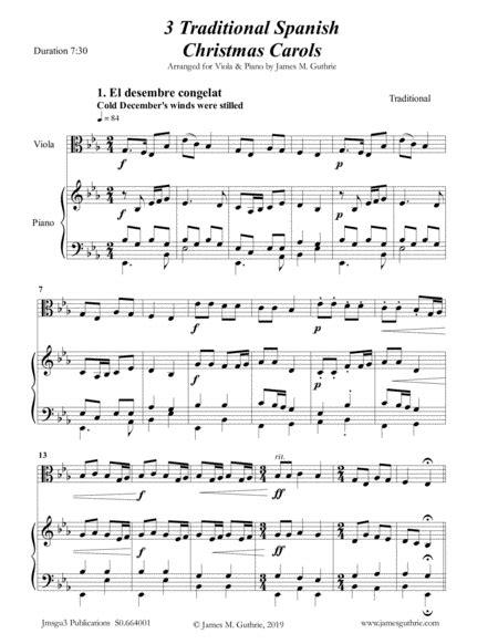 3 Traditional Spanish Christmas Carols For Viola Piano  music sheet
