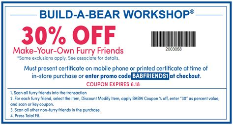 30 Off Build A Bear Coupons Promo Codes October 2017
