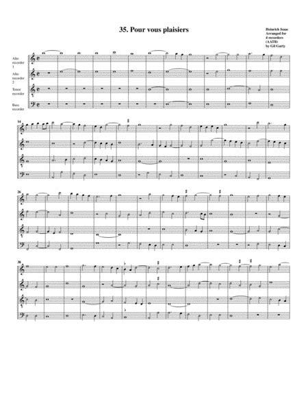 35 Pour Vous Plaisiers Arrangement For 4 Recorders  music sheet