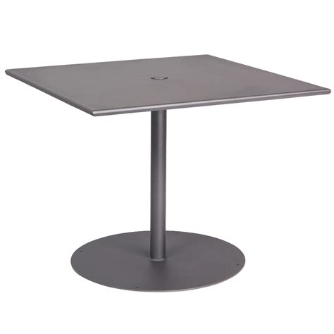 36 Square Umbrella Pedestal Dining Table with Solid Top