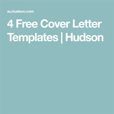 4 Free Cover Letter Templates Hudson