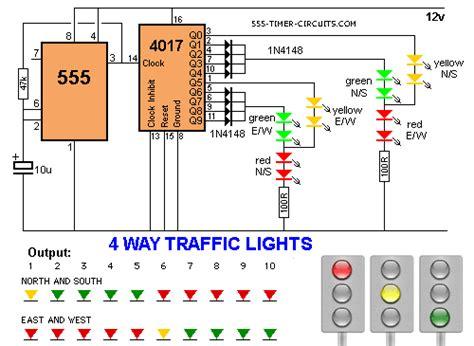 4 WAY TRAFFIC LIGHTS Circuit 555 Timer Circuits