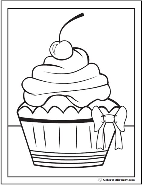 40 Cupcake Coloring Pages Customize PDF Printables
