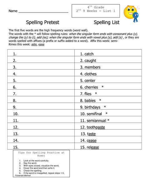 4th Grade Spelling Words Lists Games and Activities