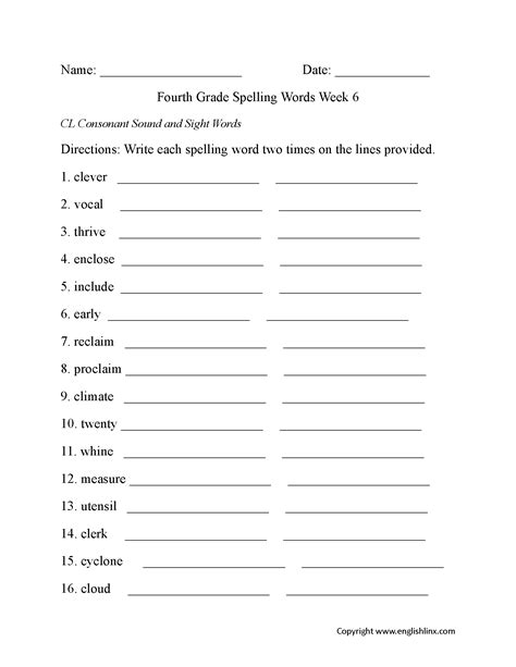 4th Grade Spelling Words Worksheets Activities