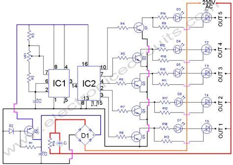 5 WAY AC FLASHER CIRCUIT DIAGRAM Electronic Circuits