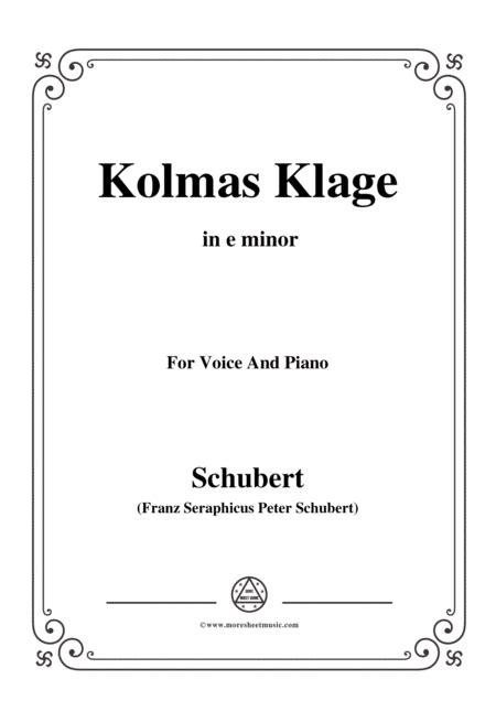 5schubert Kolmas Klage Colmas Lament D 217 In E Minor For Voice Piano  music sheet