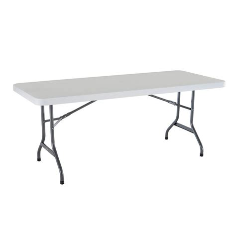 6 ft Granite Folding Utility Table in White The Home Depot