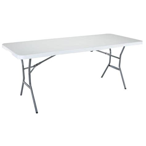 6 ft White Granite Fold In Half Table The Home Depot