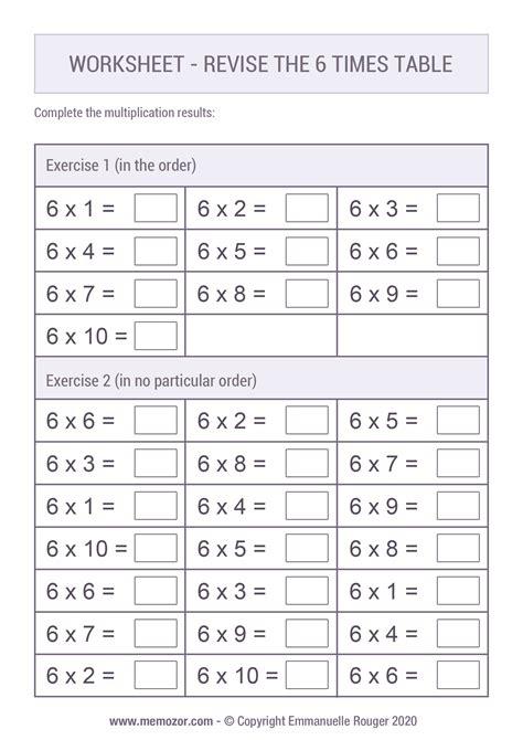 6 x Table Free PDF Worksheet Mental Arithmetic