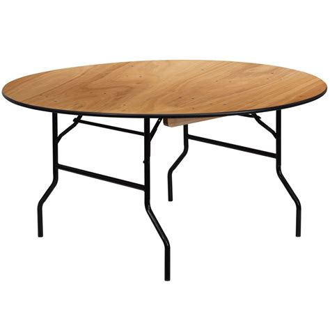 60 Round Wood Folding Banquet Table with Clear Coated