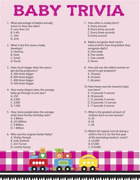 A Baby Shower Trivia Game Creative Baby Shower Ideas