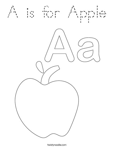 A is for Apple Coloring Page Twisty Noodle