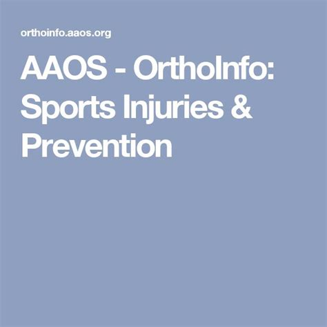 AAOS OrthoInfo Sports Injuries Prevention