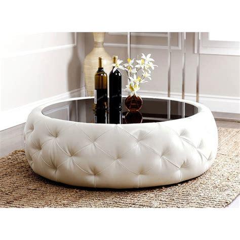 Abbyson Abbyson Havana Round Leather Coffee Table White