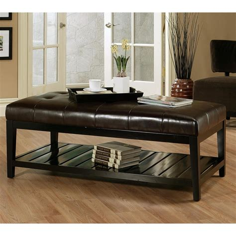 Abbyson Living Tufted Leather Coffee Table Ottoman White