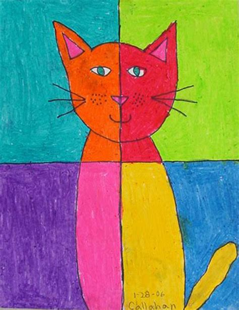 Abstract Art Cat Art Projects for Kids