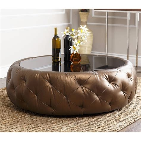 Accent Tables Havana Round Leather Coffee Table Abbyson