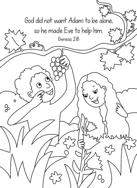 Adam Eve Coloring Pages Bible Story Printables