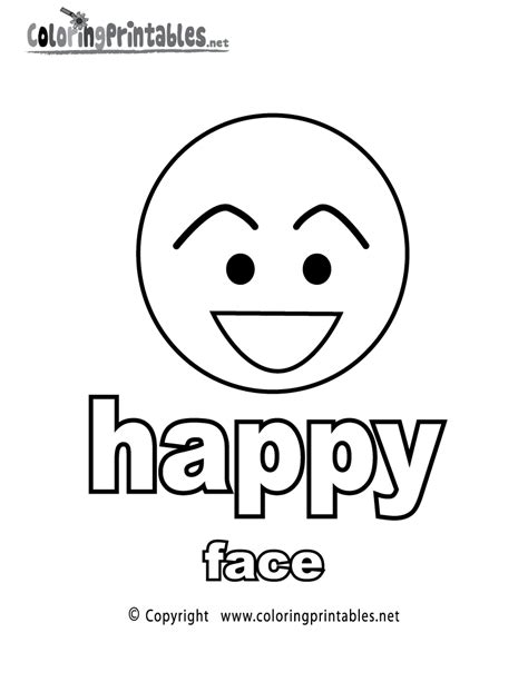 Adjectives Happy Face Coloring Page A Free English